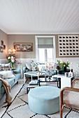 Pale blue upholstered furniture in living room