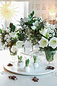 Wintry arrangements of white flowers
