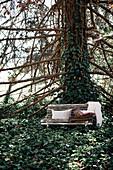 Kissen und ein Stapel Decken auf einer Bank unterm Baum mit Efeu