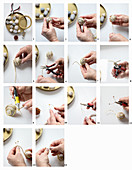 Instructions for making snails from pebbles and wire