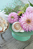 Dahlias arranged with snail shell
