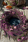 Wreath of budding heather and coral bead