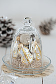 White and gold Christmas tree decorations under a bell jar
