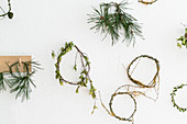 Simple handmade wreaths on wall