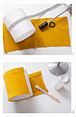 Instructions for making yellow corduroy lampshade