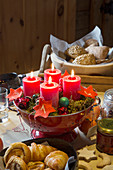 Red pillar candles and numbered felt stars in colander