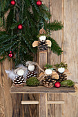 Angels handmade from fir cones, wooden beads, feathers and moss