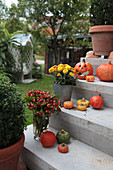 Steps decorated for autumn with pumpkins, chrysanthemums and bouquet of rose hips
