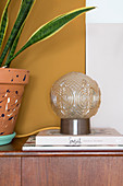 Structured, spherical lamp next to snake plant in terracotta pot