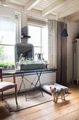 Blumenkasten und Spiegel vor Fenster, kleiner Hund auf Dielenboden