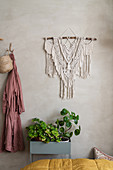 Plant stand below macramé handing on lime-washed wall