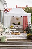 Pavilion on wooden deck