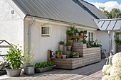 An outdoor wooden kitchen with various potted herbs