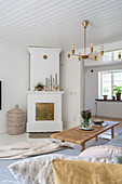 A view of a fireplace in a Scandinavian-style living room