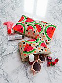 Toiletries bags with watermelon motif