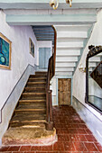 Rustic staircase in French country house