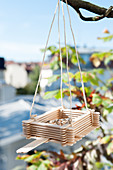 Bird feeder handmade from lolly sticks