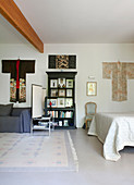Kimonos hung on bedroom wall