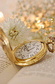 White chrysanthemum and gold pocket watch