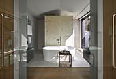 Free-standing bathtub in luxurious bathroom with sunlight falling through window