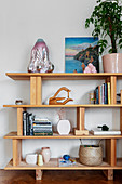 Books and decorative objects on a wooden shelf