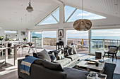 Open plan living room with sea views