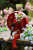 Vintage bean slicer decorated with flowering sprig of pink hawthorn and forget-me-nots