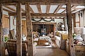 Grade II listed timber framed living room painted in Off White