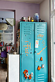Turquoise blue locker with decorative letter magnets