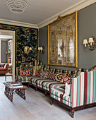 Striped sofa in classic, English-style living room