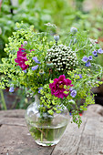 Bouquet of cosmea, lady's mantel, viper's bugloss, allium and poppy seed heads