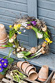 Wreath with grape hyacinths, hyacinths, narcissus, crocus and star-of-Bethlehem and pot of blue primulas