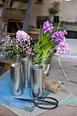 Hyacinths, broom and skimmias for making a spring bouquet