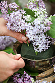 Arranging a bouquet of lilac and cow parsley in florists' foam