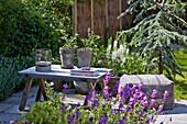 Holztisch und Sitzkissen auf der Terrasse