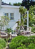 Wooden garden furniture on the terrace