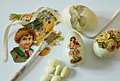 Easter eggs decorated using decoupage technique