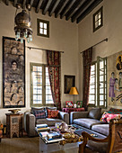 Modern upholstered furniture in living room of Oriental palace