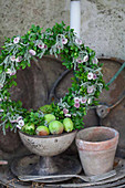 Summer wreath of flowers and box