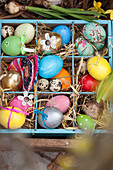 Colourful Easter eggs in wooden crate