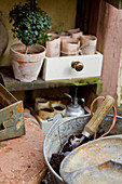 Handmade paper plant pots in small drawer