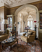 Classic living room with stucco details in English stately home