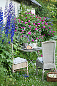 Romantic seating area next to roses and delphiniums in garden