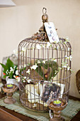 Rusty old birdcage with nostalgic decoration