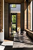 Sunlight falling through windows of architect-designed house
