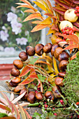 Autumn wreath made of chestnuts