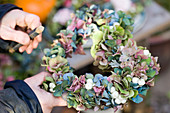 Tying a heart from hydrangea blossoms and snowberries