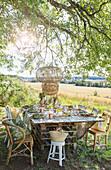 Table set in garden