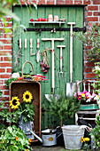 Garden tools, vegetables, sunflowers, rosemary stems and basket with blossoms