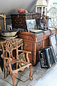 Flea-market finds and antiques below sloping ceiling